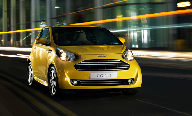 Aston Martin Cygnet in yellow