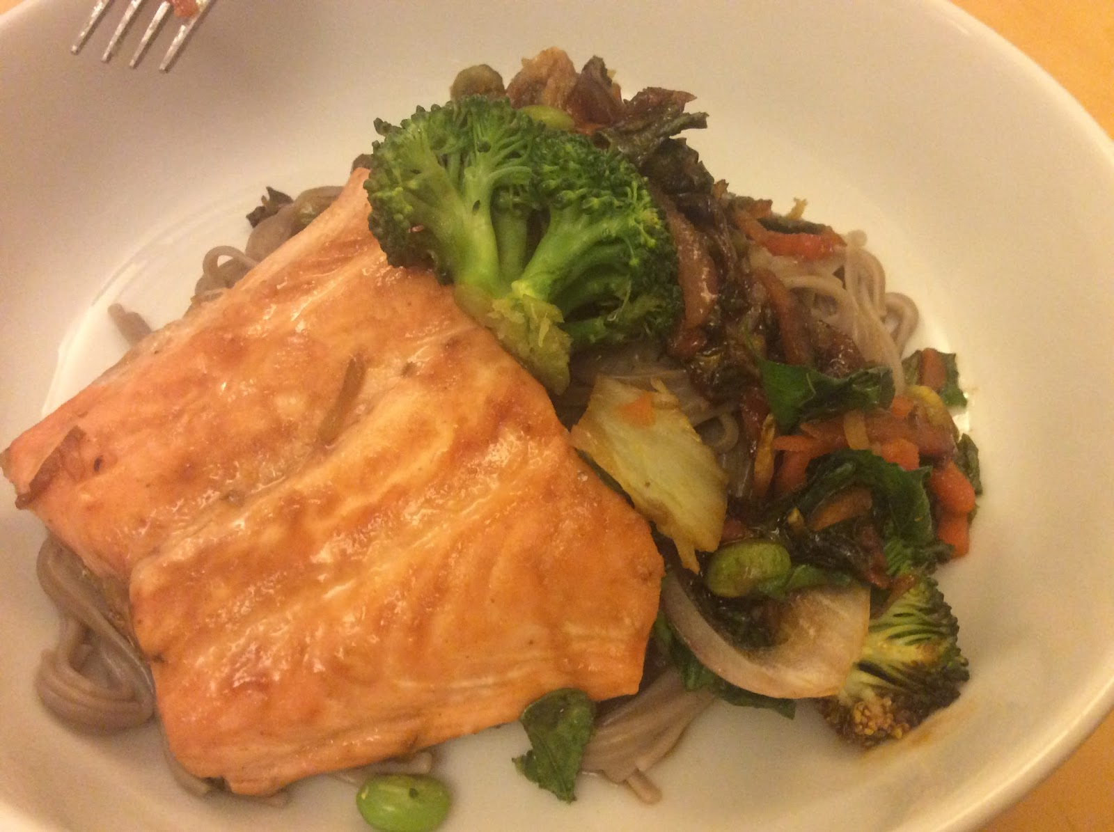teriyaki salmon with buckwheat noodles