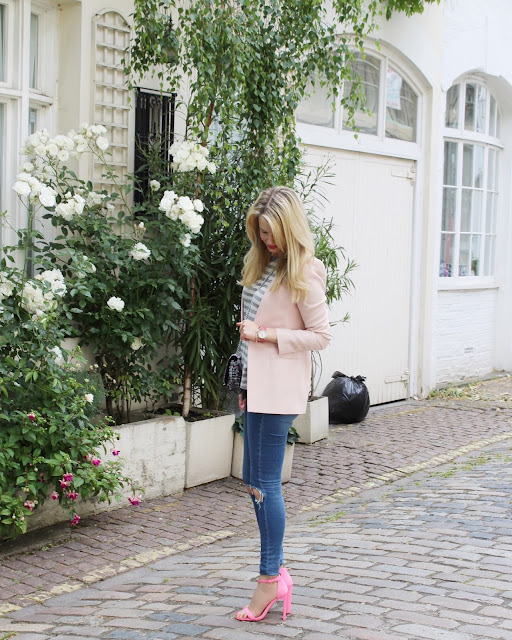 caravelle watches, pink watch, skinny jeans ripped, pink heels, asos hampton heels