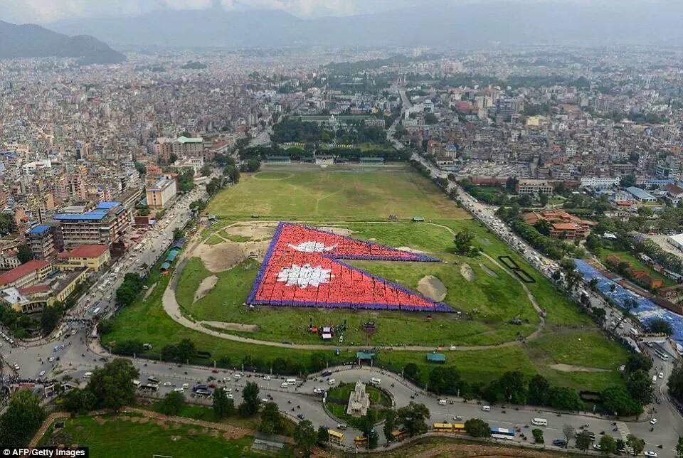 nepal made world's largest human flag with 35000 people