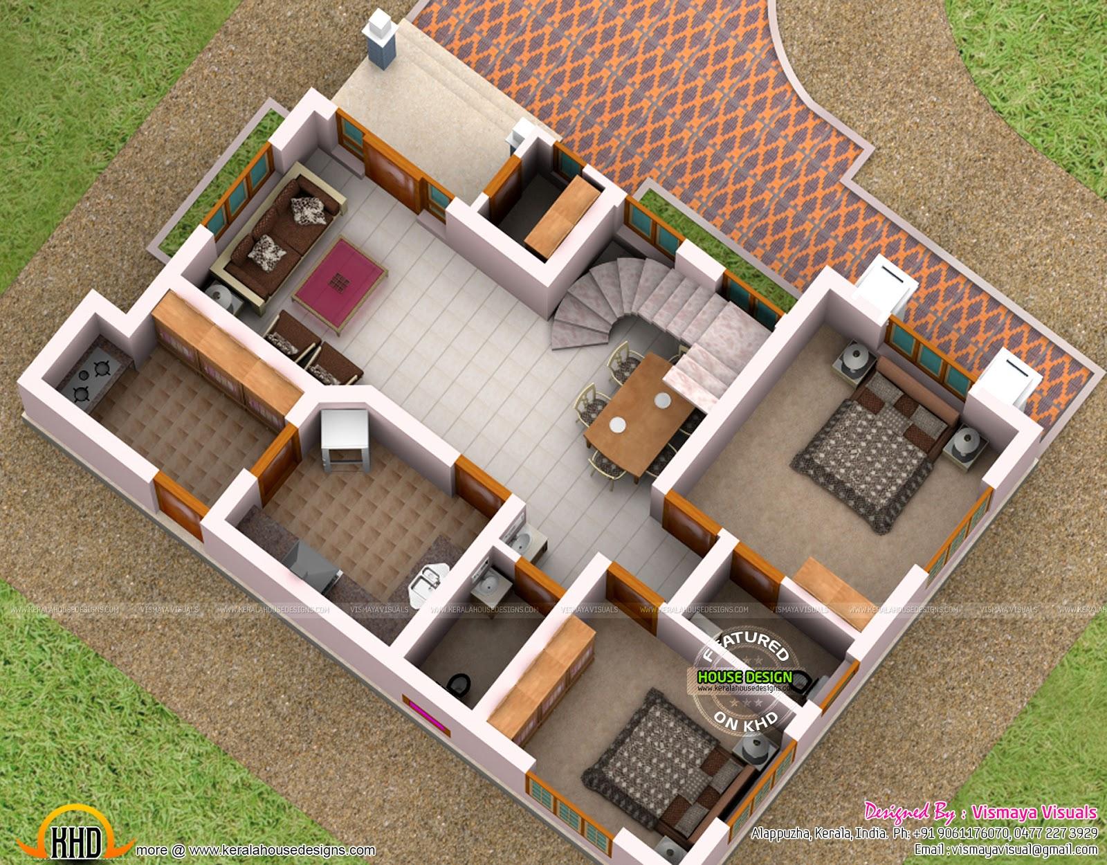 3000 sq ft floor plan 3d home design - Floor Plan