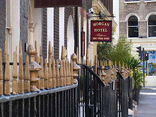 London railings and the Morgan Hotel