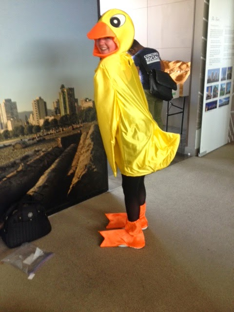 Taylor Hastings in a duck mascot costume