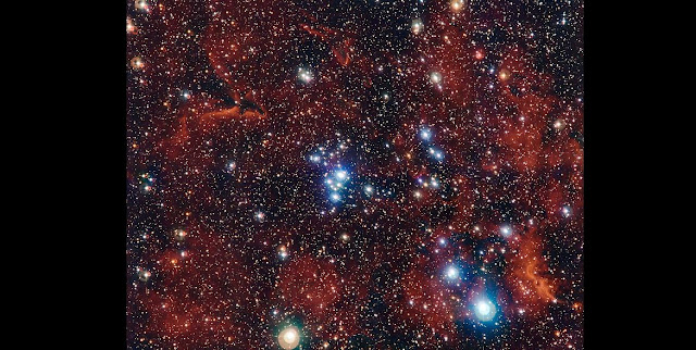 This rich view of an array of colourful stars and gas was captured by the Wide Field Imager (WFI) camera, on the MPG/ESO 2.2-metre telescope at ESO's La Silla Observatory in Chile. It shows a young open cluster of stars known as NGC 2367, an infant stellar grouping that lies at the centre of an immense and ancient structure on the margins of the Milky Way. Credit: ESO/G. Beccari