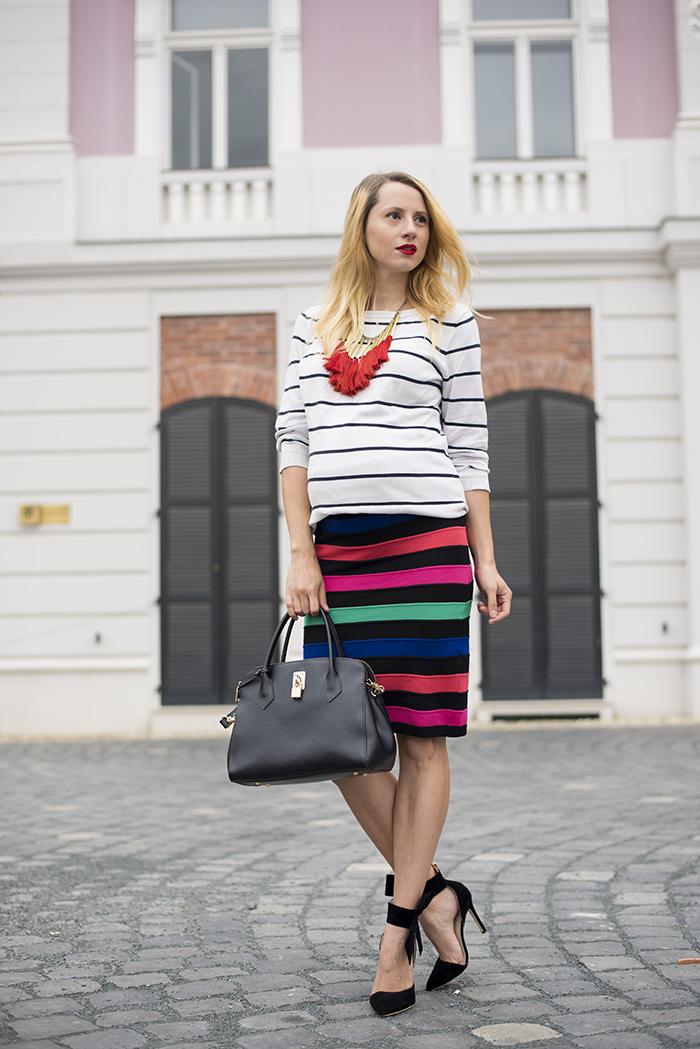 Skinny Buddha maternity style rainbow stripes