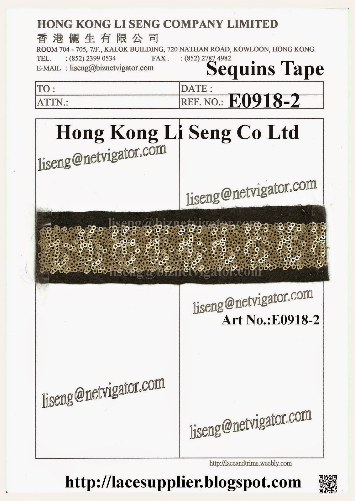 New Mini Sequins With Fabric Tape Manufacturing - Hong Kong Li Seng Co Ltd