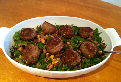 Sesame turkey meatballs over spinach chickpea salad @ SouthernSpoonBlog