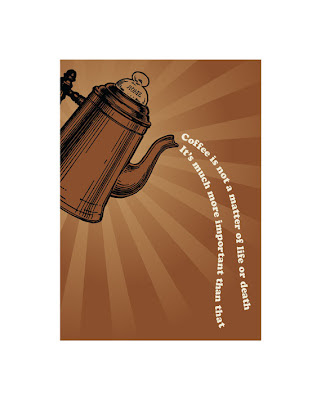 vintage coffee pot pouring poster text