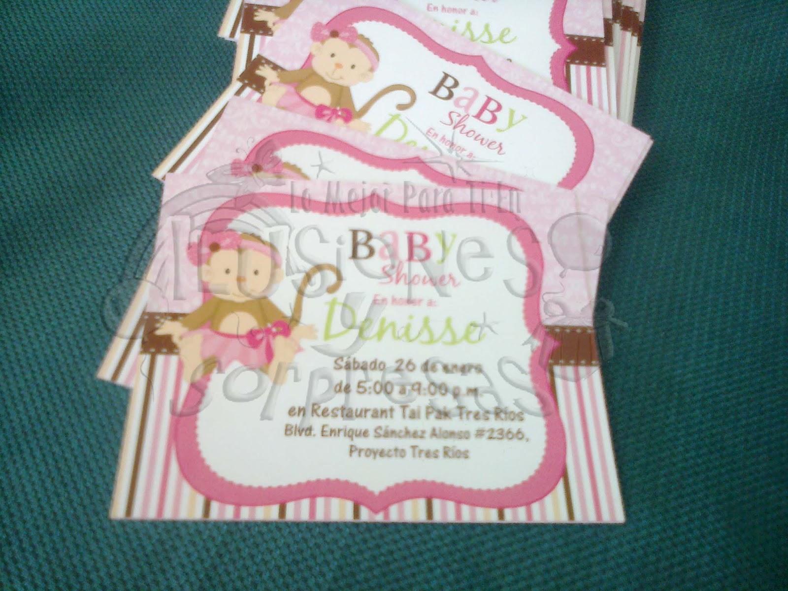 Detalles para tus eventos sociales invitaciones baby shower changuita - Detalles para baby shower ...