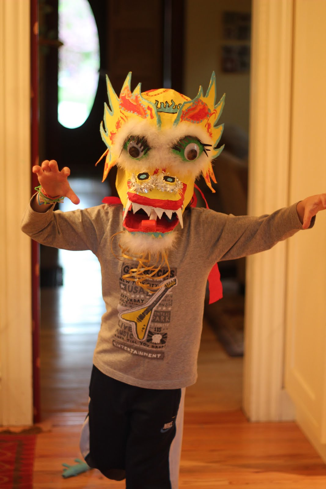 back on festive road chinese dragon mask