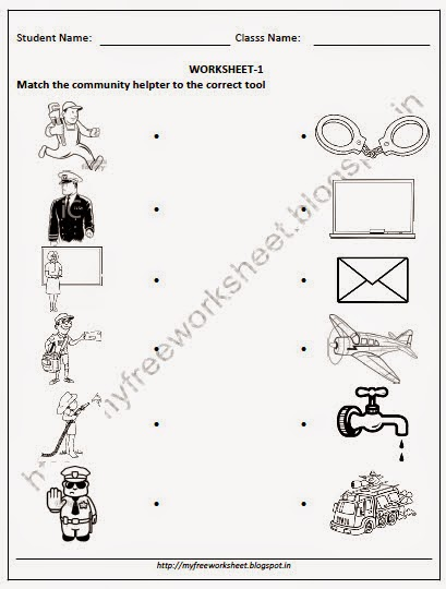 math worksheet : online downlaod pdf for nursery evs match the munity helper to  : Community Helpers Kindergarten Worksheets