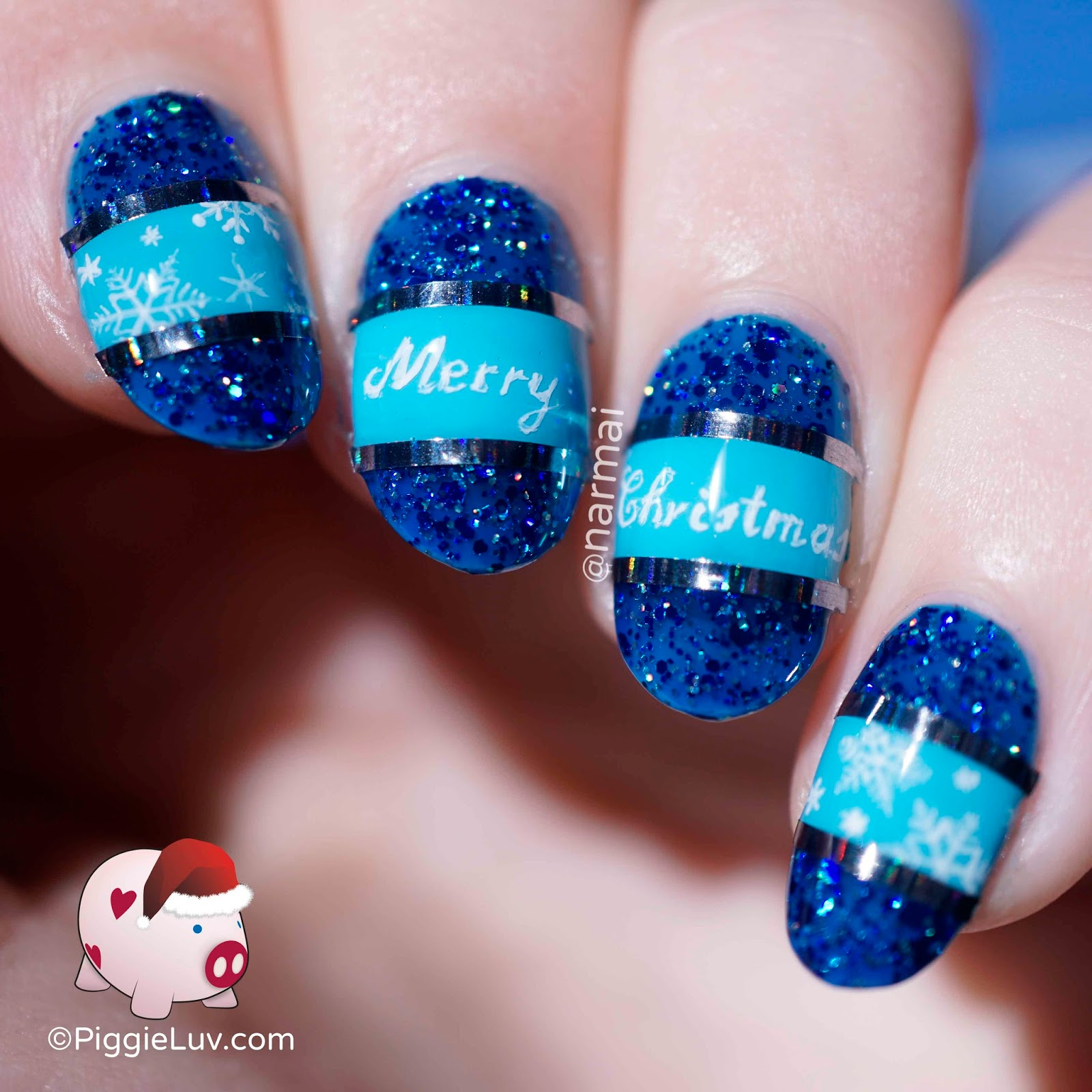Freehand Blue Christmas Nail Art