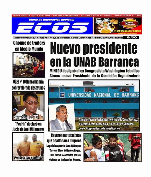 Esta es la edición del Diario ECOS miércoles 06 de mayo del 2015
