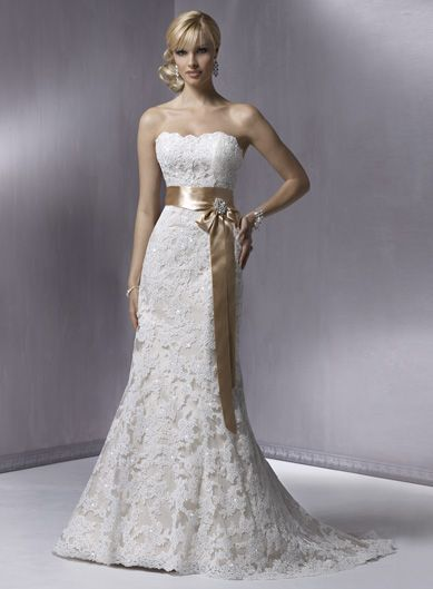 Strapless Empire waist Lace over satin wedding dress