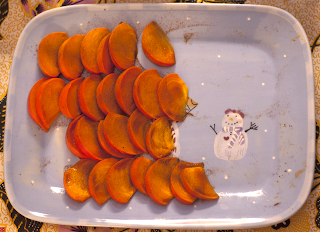 Half-Eaten Plate of Persimmons with Snowman