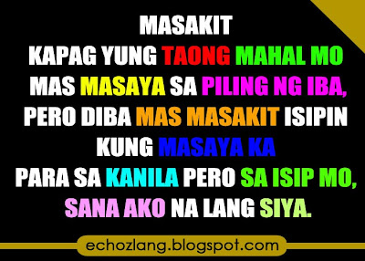 Masakit kapag yung taong mahal mo mas masaya sa piling ng iba.