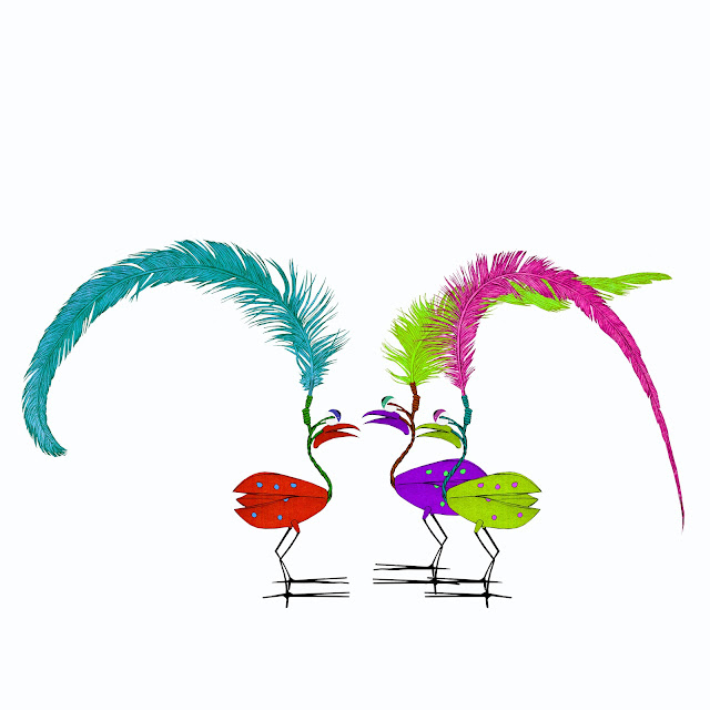 tres pajaritos, plumas, parloteo
