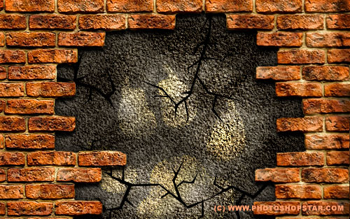 brick wall ruinous brick wall