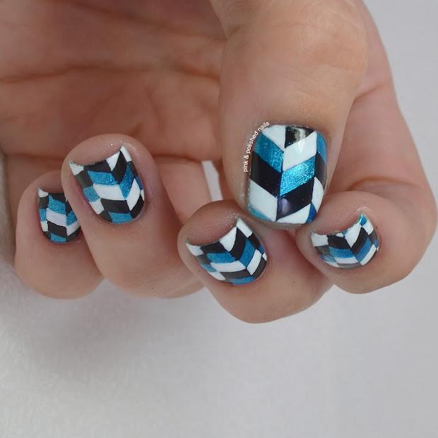 pink & polished herringbone nail