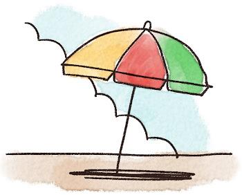 ビーチパラソルのイラスト「砂浜と入道雲」