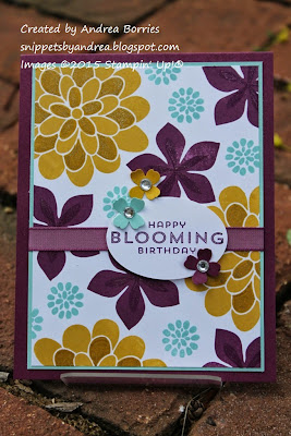 Birthday card made with Flower Patch stamp set and Hello Honey, Rich Razzleberry, Blackberry Bliss and Pool Party.