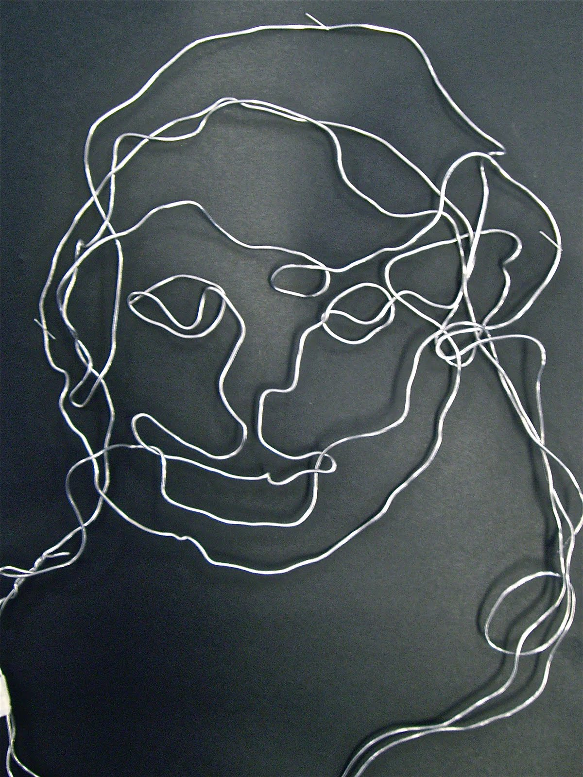 Contour Line Drawing With Wire : Use your coloured pencils contour line self portraits