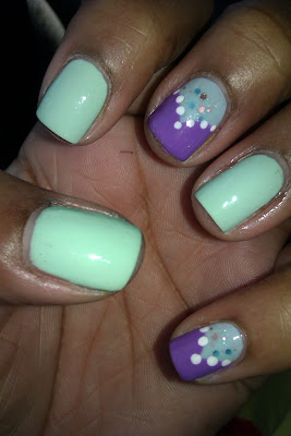 Whimsical, Mint Sorbet, purple, frenchie, fishtail, nail art, design, mani
