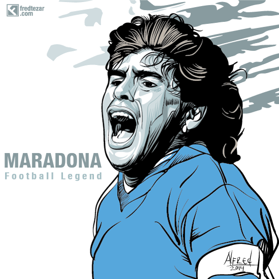 Maradona, football players, legend, legenda sepakbola dunia, artwork, potrait, poster