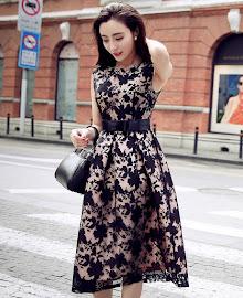 Sleeveless Printed Lace Bow Ribbon Flare Party Dress