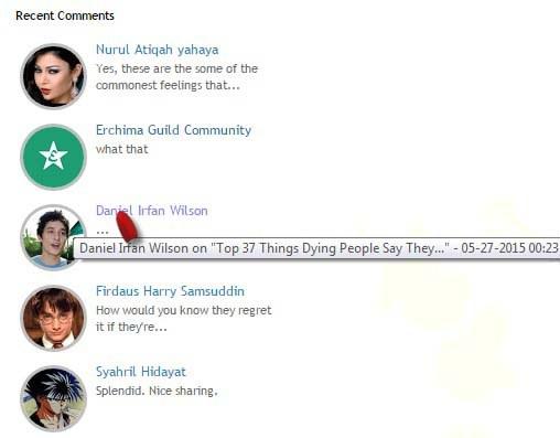 recent comments widget with hide author function, blogger tutorial, blogspot widget