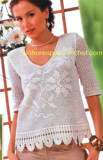 blusa en crochet filet