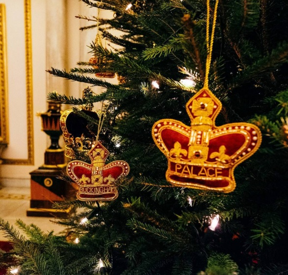 one of the baubles hanging on the queens christmas tree this year shared on the british monarchy instagram page - Queen Christmas Decorations