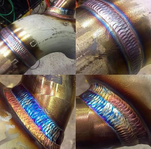 TIG welding on stainless pipe. Beautiful weave pattern and the heat colors make it even prettier. More photos and a short video of the  industrial worker  ... & Shop Teacher Bob: Welding Stuff