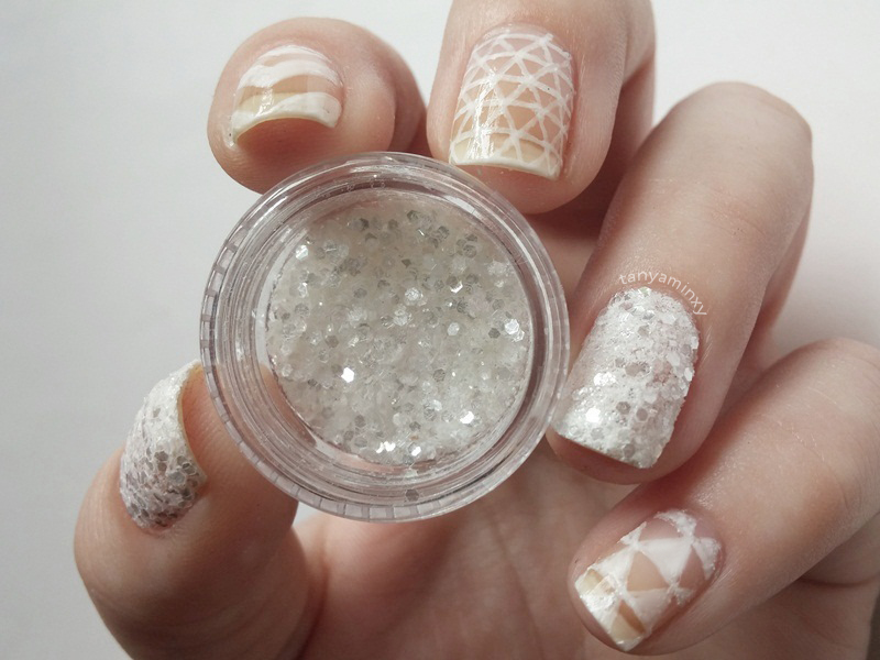 White Negative Space Glitter Manicure Nails Nail Art Design NOTD  BPS Nail Art Pen