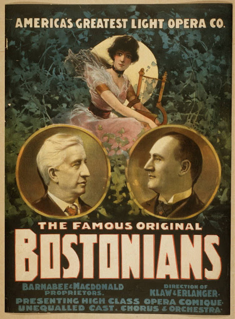 advertising, art, classic posters, free download, graphic design, movies, retro prints, theater, vintage, vintage posters, America's Greatest Light Opera Co., The Famous Original Bostonians - Vintage Theater Opera Poster