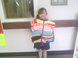 my gorgeous megan helping to deliver blankets to local childrens ward xxxx
