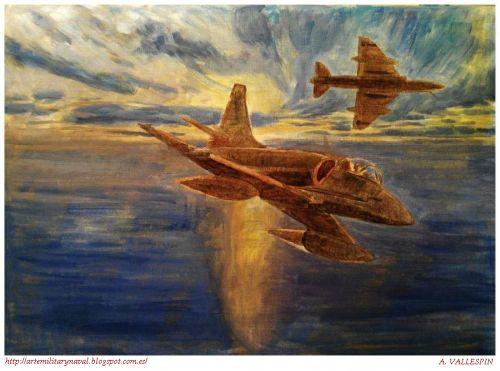 Óleo de Skyhawks de la Marina Argentina en Malvinas 3
