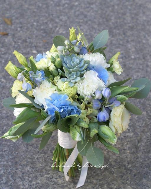 Pastelowy bukiet ślubny - błękit serenity i mięta.