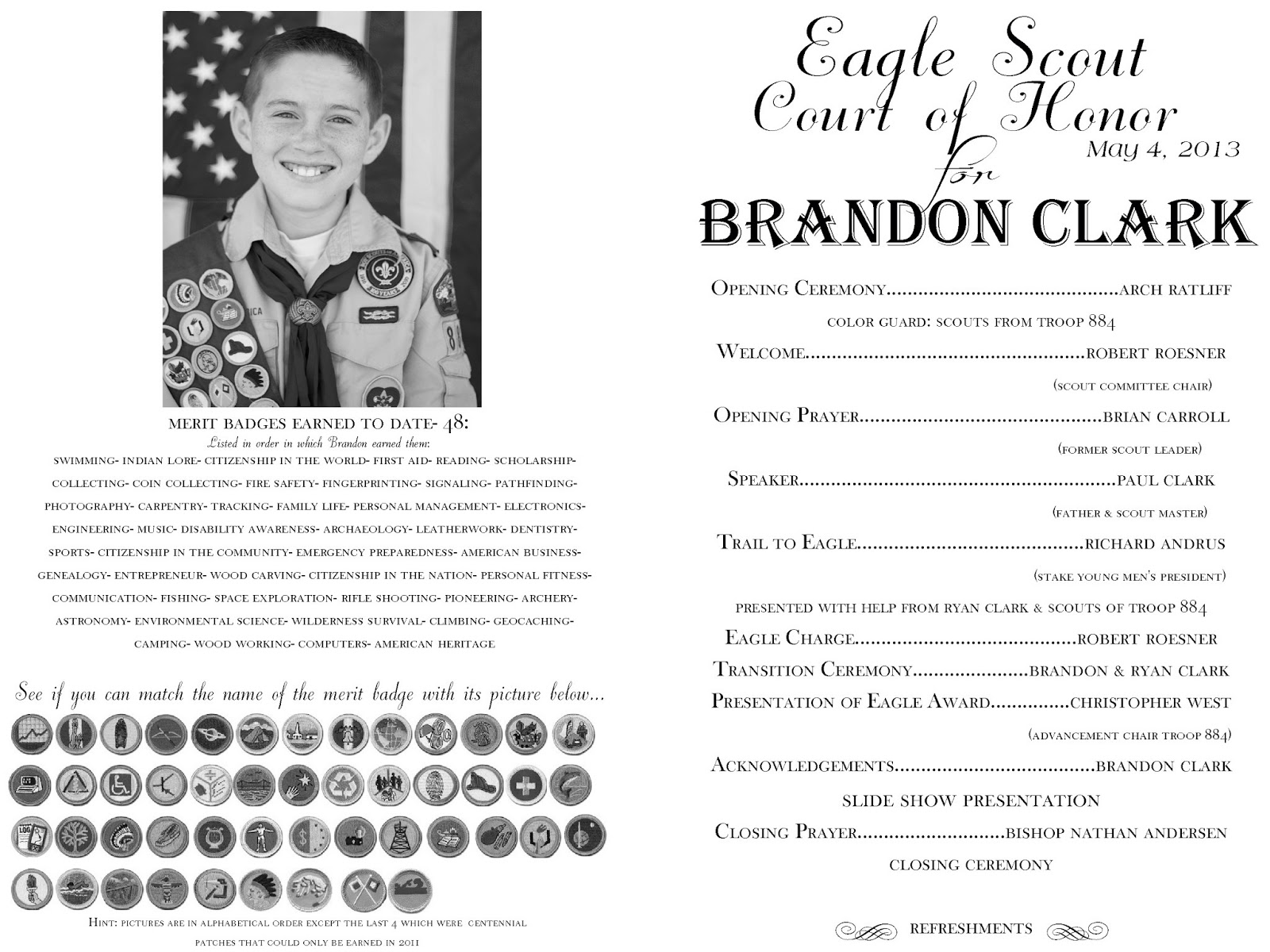 Eagle court of honor the program the red balloon for Eagle scout court of honor program template