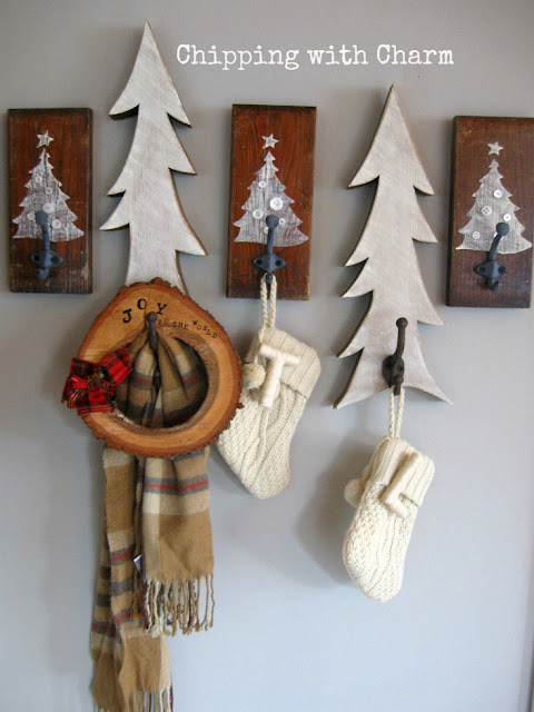 Chipping with Charm: Embellished Tree Hooks using Sign Old Sign Stencils...www.chippingwithcharm.blogspot.com