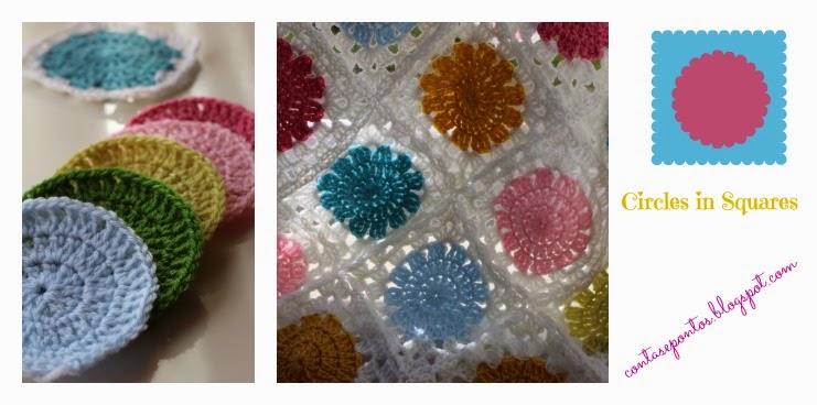 circles in squares crochet, manta de bebé