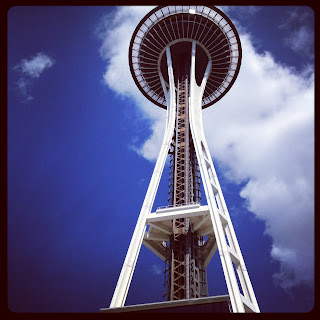 looking up at the Seattle Space Needle 