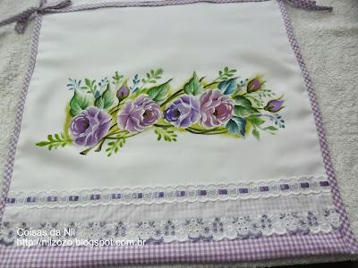 pintura em tecido rosas lilas