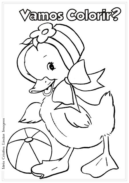 Desenho de Pata Fofa para Colorir