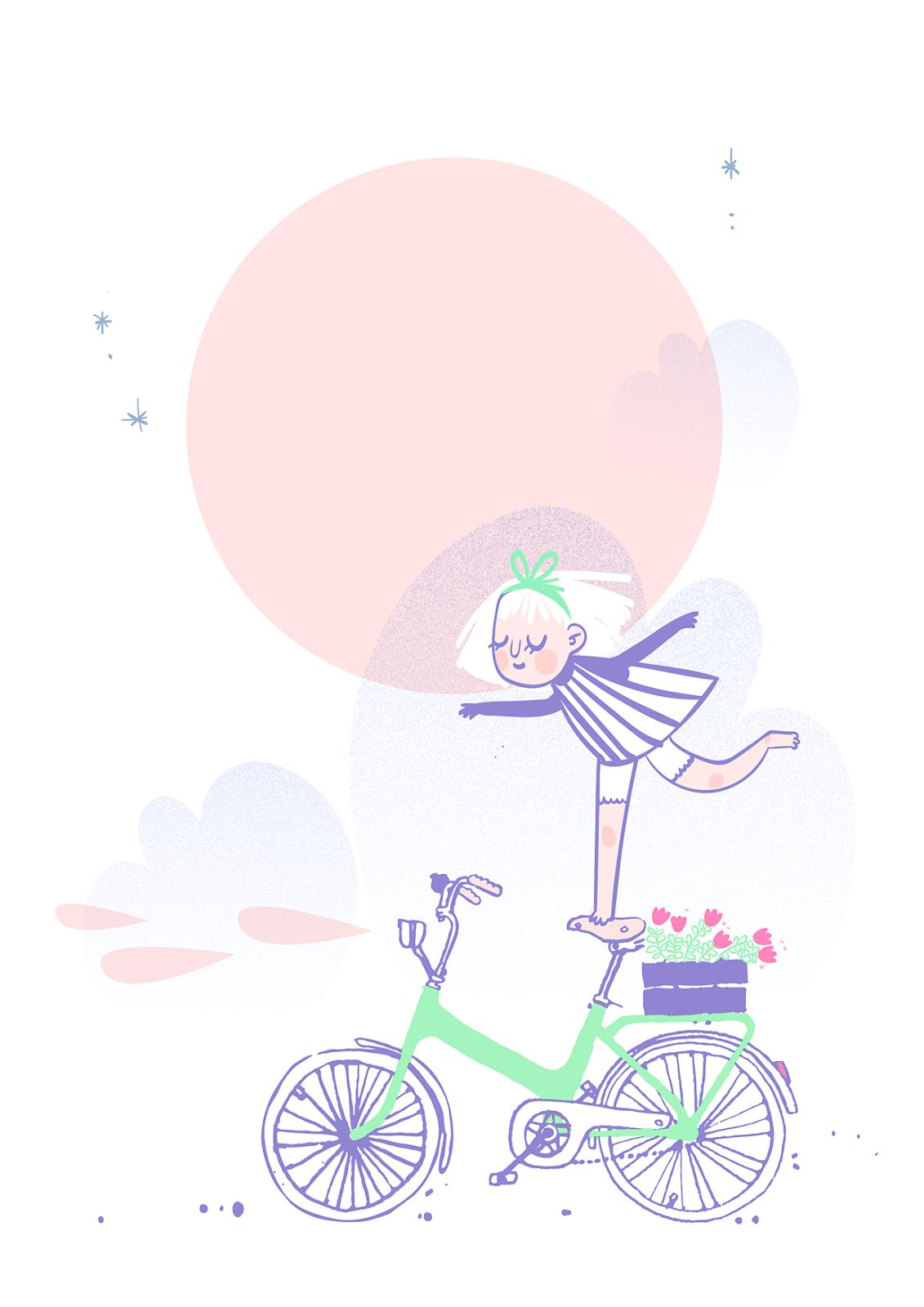 Bike Moon Illustration by Jenni Saarenkyla