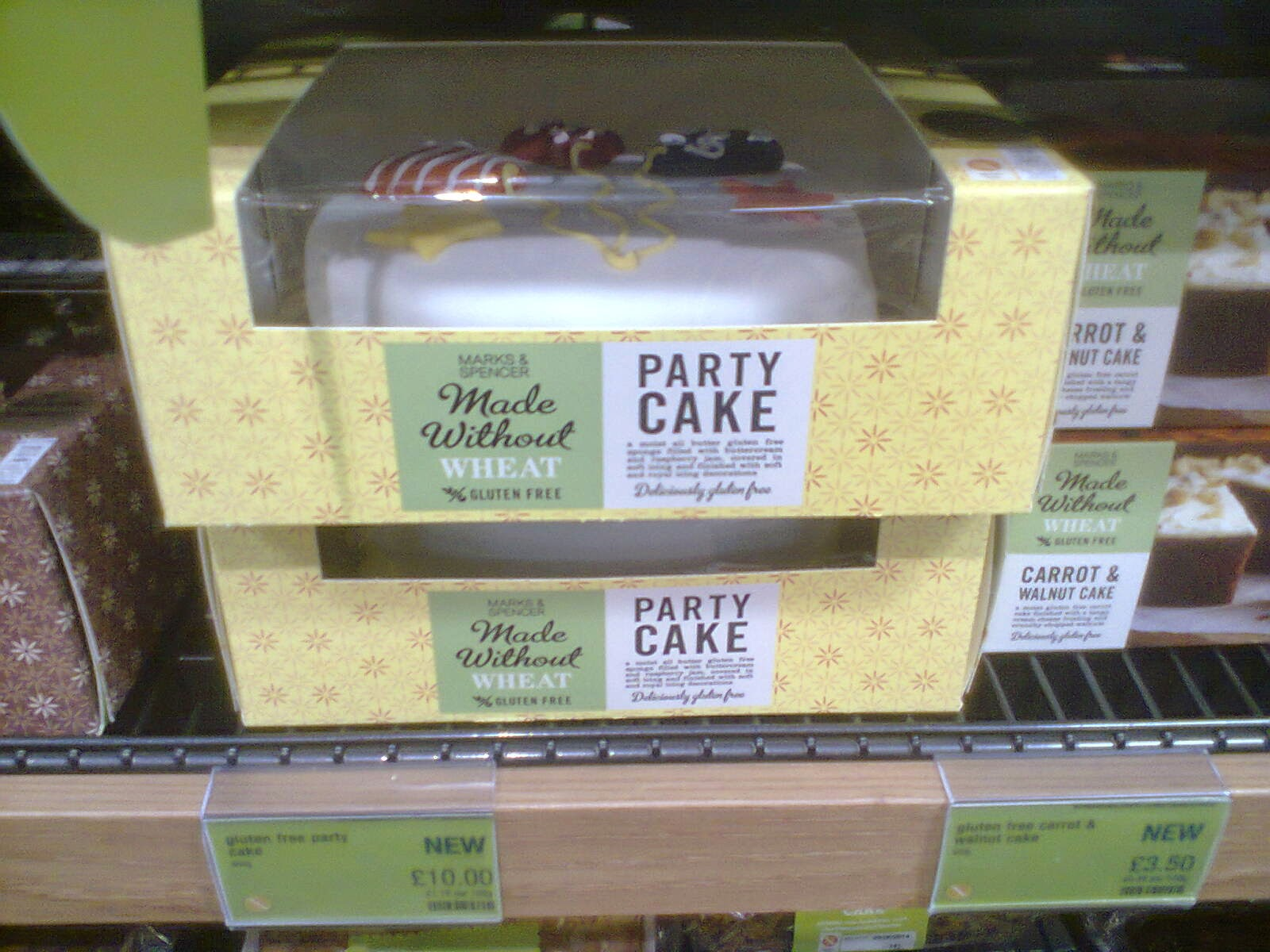 The Marks and Spencer Made Without Wheat 'Party Cake'. I hope I get one of these on my next birthday.