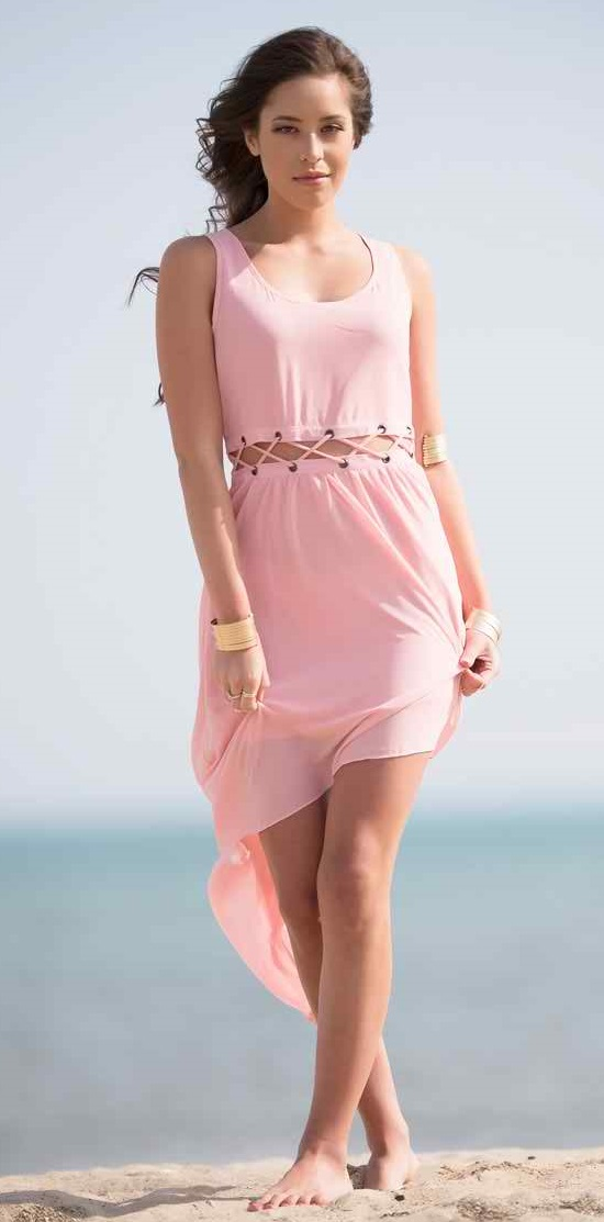Criss Cross Waist Pink Dress #lovely #cheap