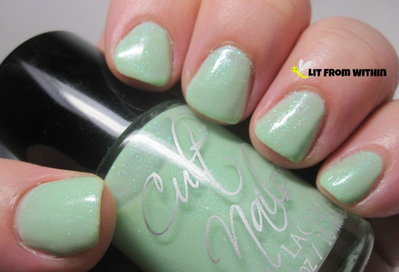 Cult Nails Thrive, a mint green with shimmer