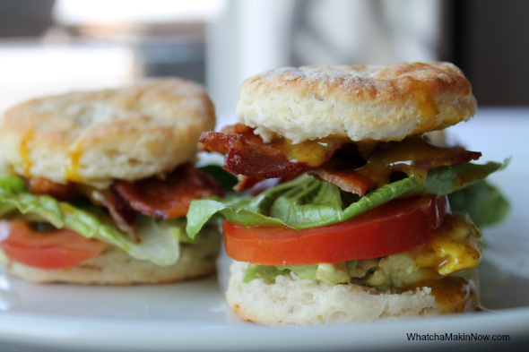Mini BLT Biscuits - buttery biscuit, honey mustard, bacon, avocado, lettuce, and tomato ---- sooooo good!
