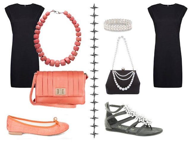 A simple black dress worn with coral accessories, and worn with black and pearl accessories